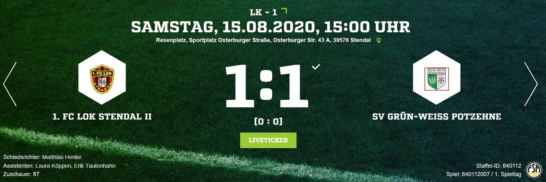 Landesklasse 1 ► 1. Spieltag - 1. FC Lok Stendal
